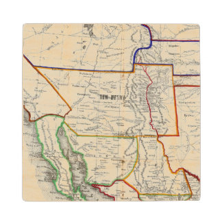 Map Of Mexico & California Wood Coaster
