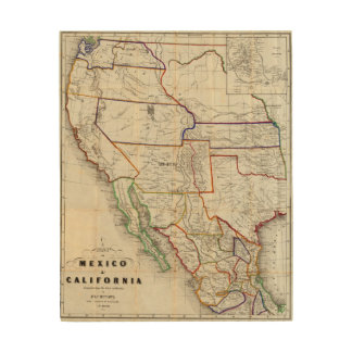 Map Of Mexico & California Wood Wall Art