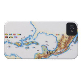 Map of Mexico, Central America and Caribbean iPhone 4 Case
