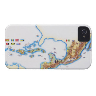 Map of Mexico, Central America and Caribbean iPhone 4 Case-Mate Cases