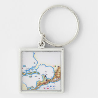 Map of Mexico, Central America and Caribbean Key Ring