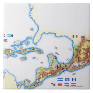 Map of Mexico, Central America and Caribbean Large Square Tile
