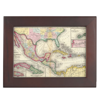 Map Of Mexico, Central America Keepsake Box