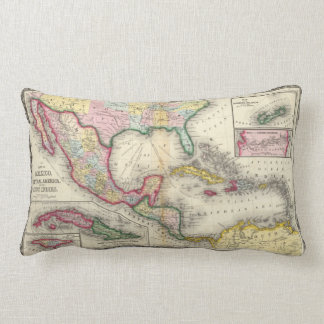 Map Of Mexico, Central America Lumbar Cushion
