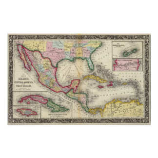 Map Of Mexico, Central America Posters