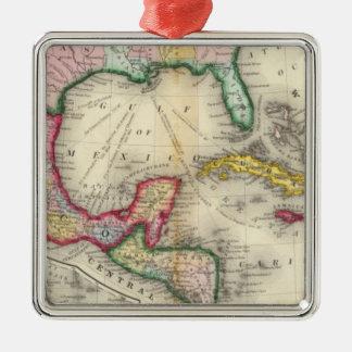 Map Of Mexico, Central America Silver-Colored Square Decoration