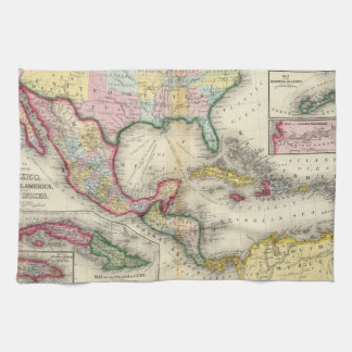Map Of Mexico, Central America Tea Towel