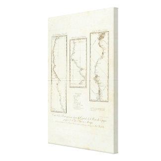 Map of Mexico City to Santa Fe New Mexico Canvas Print