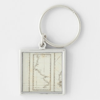 Map of Mexico City to Santa Fe New Mexico Silver-Colored Square Key Ring