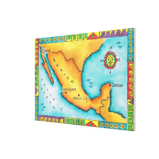 Map of Mexico Gallery Wrapped Canvas