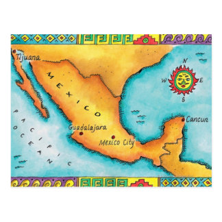 Map of Mexico Postcard