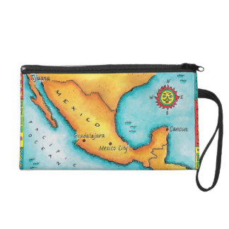 Map of Mexico Wristlet