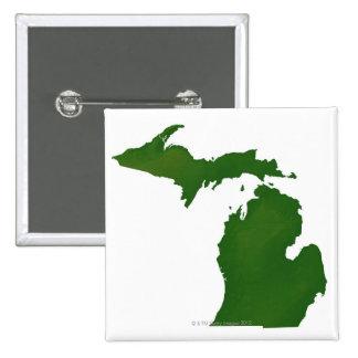 Map of Michigan 15 Cm Square Badge
