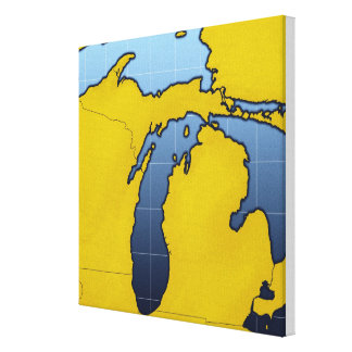 Map of Michigan 2 Canvas Print