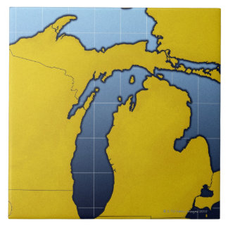 Map of Michigan 2 Large Square Tile
