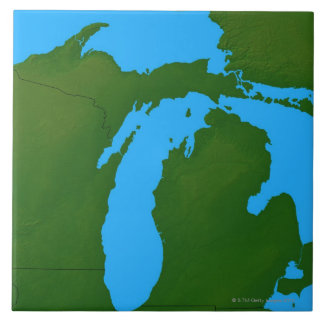 Map of Michigan 3 Large Square Tile
