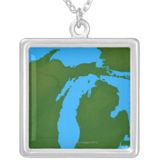 Map of Michigan 3 Silver Plated Necklace