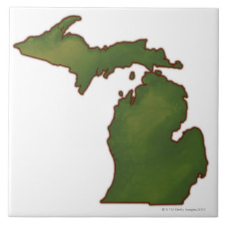 Map of Michigan 4 Large Square Tile