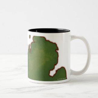 Map of Michigan 4 Two-Tone Coffee Mug
