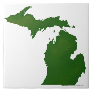 Map of Michigan Large Square Tile