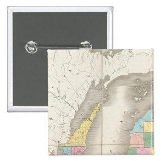 Map of Michigan & Part Of Wisconsin Territory 15 Cm Square Badge