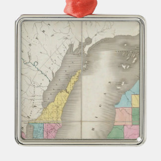 Map of Michigan & Part Of Wisconsin Territory Silver-Colored Square Decoration