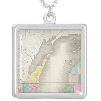 Map of Michigan & Part Of Wisconsin Territory Silver Plated Necklace