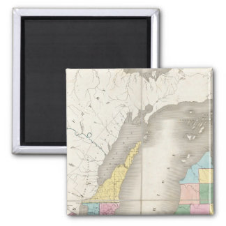 Map of Michigan & Part Of Wisconsin Territory Square Magnet