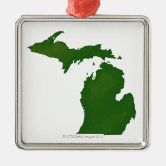 Map of Michigan Silver-Colored Square Decoration