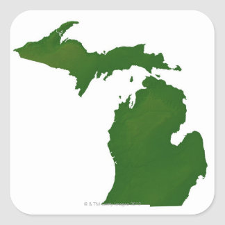 Map of Michigan Square Stickers