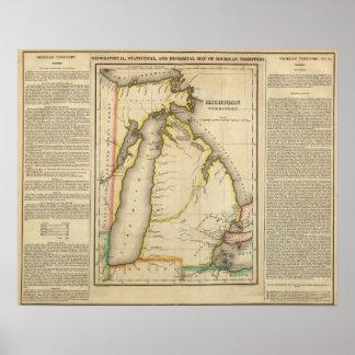Map Of Michigan Territory Poster