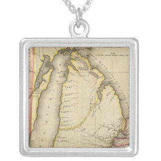 Map Of Michigan Territory Silver Plated Necklace