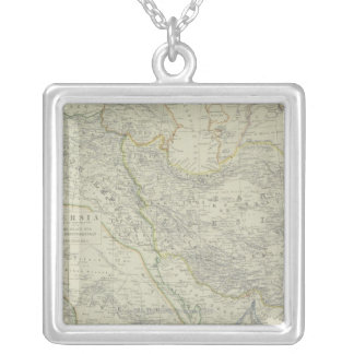Map of Middle East Silver Plated Necklace