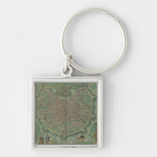 Map of Milan, from 'Civitates Orbis Terrarum' by G Silver-Colored Square Key Ring