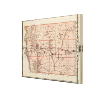 Map of Mills County, State of Iowa Canvas Print