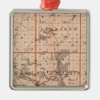 Map of Mills County, State of Iowa Christmas Ornament