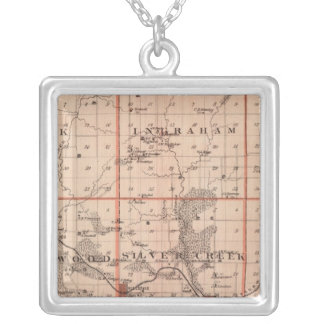 Map of Mills County, State of Iowa Silver Plated Necklace