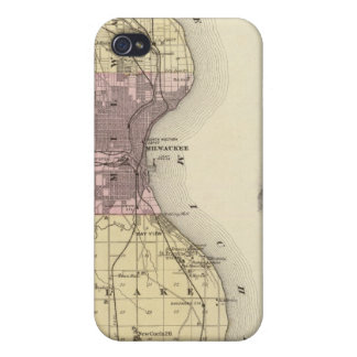 Map of Milwaukee County, State of Wisconsin Case For iPhone 4