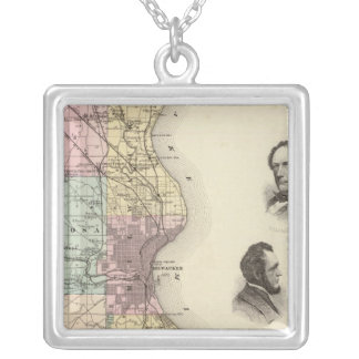 Map of Milwaukee County, State of Wisconsin Silver Plated Necklace