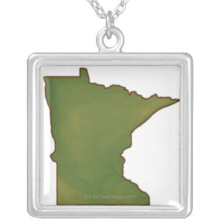 Map of Minnesota Silver Plated Necklace