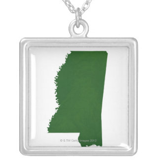 Map of Mississippi 2 Silver Plated Necklace