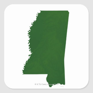 Map of Mississippi 2 Square Sticker