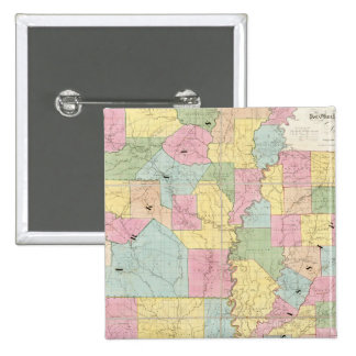 Map of Mississippi, Louisiana & Arkansas 15 Cm Square Badge
