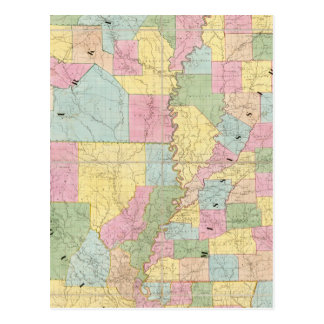 Map of Mississippi, Louisiana & Arkansas Postcard