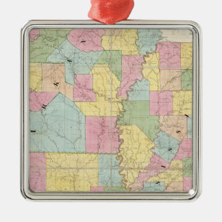 Map of Mississippi, Louisiana & Arkansas Silver-Colored Square Decoration