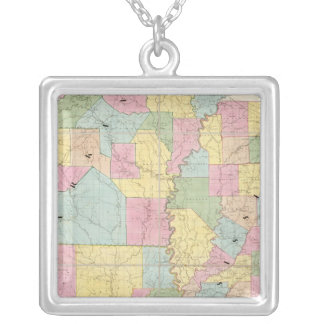 Map of Mississippi, Louisiana & Arkansas Silver Plated Necklace