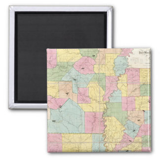 Map of Mississippi, Louisiana & Arkansas Square Magnet