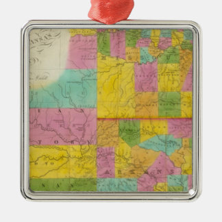 Map of Missouri Silver-Colored Square Decoration