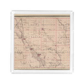 Map of Mitchell County, State of Iowa Acrylic Tray