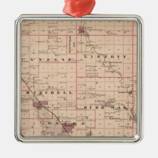 Map of Mitchell County, State of Iowa Christmas Ornament